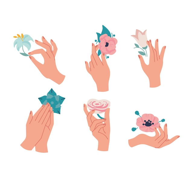 Linear template logos or emblems - hands in in different gestures with flowers.
