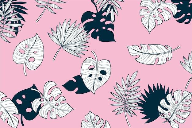 파스텔 컬러 배경으로 선형 열대 잎
