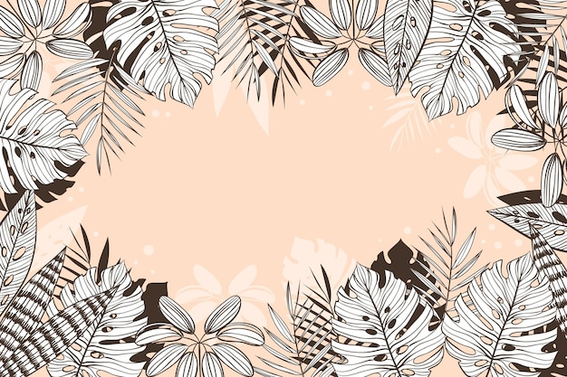 Linear tropical leaves background with pastel colors