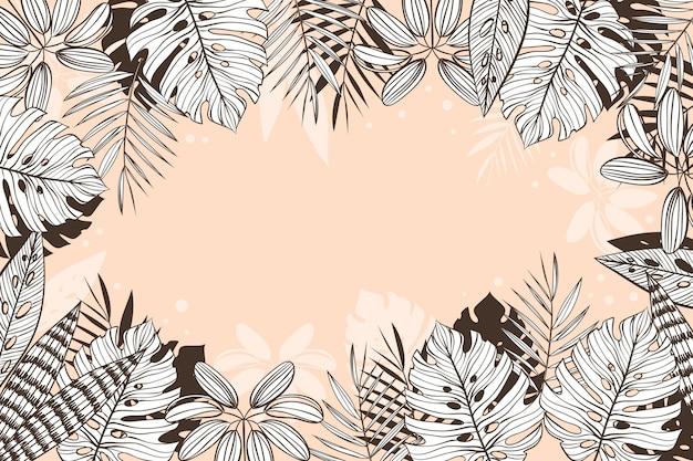 파스텔 색상으로 선형 열대 나뭇잎 배경