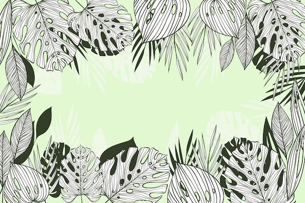 선형 열 대 나뭇잎 배경
