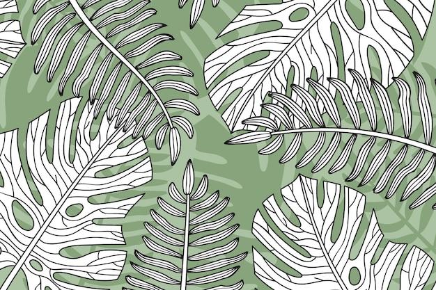 線形熱帯の葉の背景