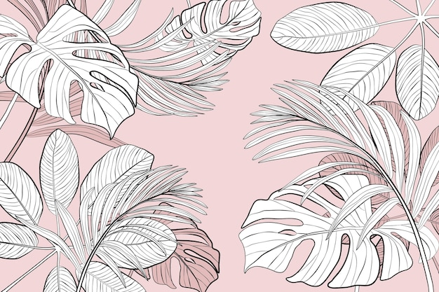Linear tropical leaves background