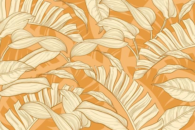 Линейный тропический фон листья