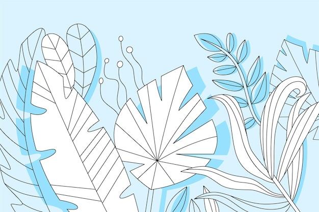 선형 열대 나뭇잎 개념