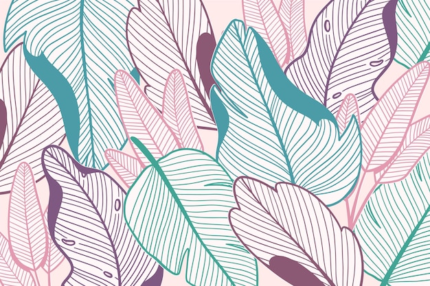 파스텔 컬러 디자인의 선형 열대 잎