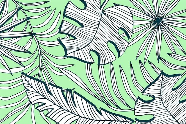 파스텔 컬러 배경으로 선형 열대 나뭇잎