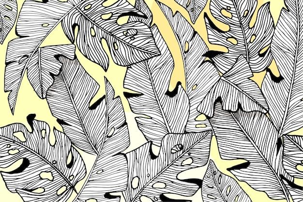 Линейные тропические листья с пастельным цветом фона