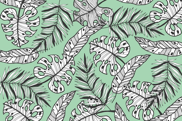 Linear tropical leaves with pastel color background