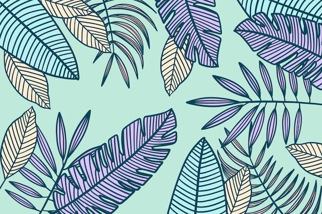 パステルカラーの背景を持つ線形熱帯の葉