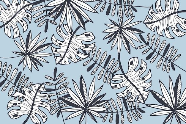 파스텔 컬러 벽지와 선형 열대 나뭇잎