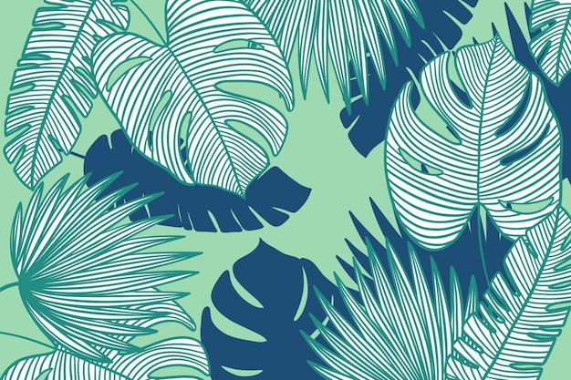 Linear tropical leaves with pastel color wallpaper