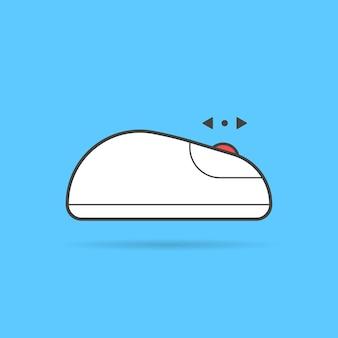 선형 위아래로 흰색 컴퓨터 마우스 아이콘을 스크롤합니다. 탐색 실루엣, 통신, 웹 서핑, 포인트 마커의 개념. 파란색 배경에 플랫 스타일 트렌드 현대 로고 타입 그래픽 디자인