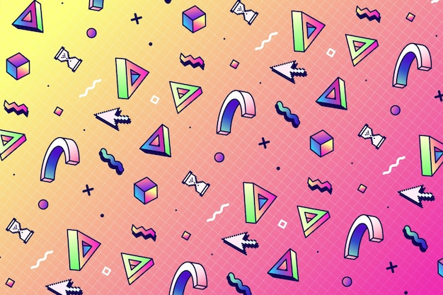Linear vaporwave pattern with geometric shapes