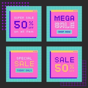 선형 증기파 소셜 미디어 포스트 템플릿 컬렉션