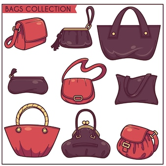 Linear vector collection of woman's accessories