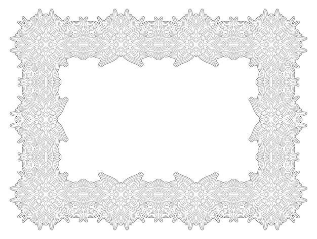 抽象的な長方形のビンテージフレームと大人の塗り絵ページの線形ベクトル図