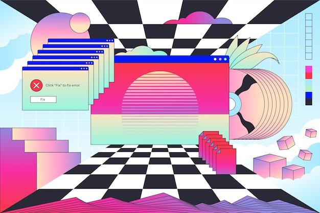 Linear vintage vaporware background