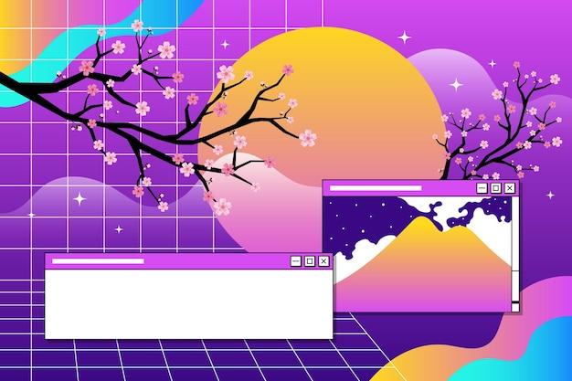Linear vintage vaporwave background
