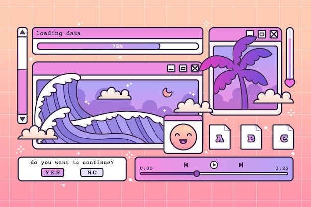 Linear vintage vaporwave background
