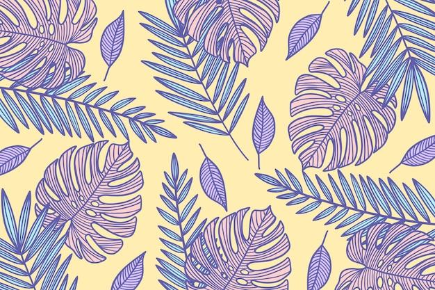 Линейные обои тропических листьев в пастельных тонах