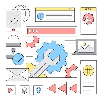 선형 웹 사이트 개발 아이콘