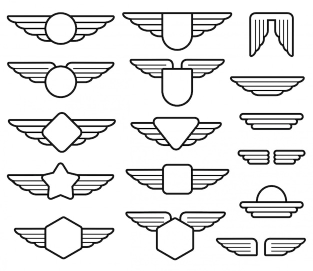 Linear wing army emblems set