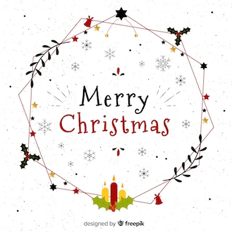 Linear wreath christmas background