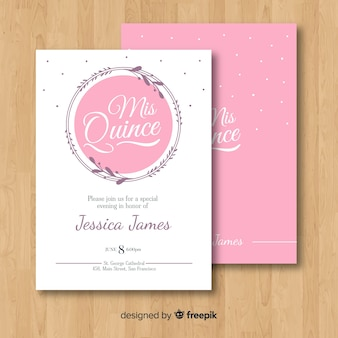 Linear wreath quinceanera card template