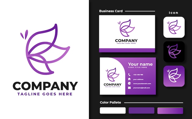 Lineart butterfly logo template and business card