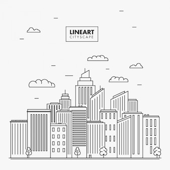 Lineart City Skyline Illustration
