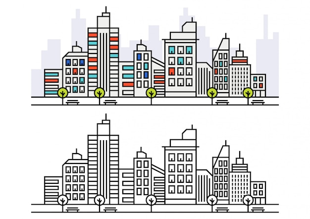Lineart city skyline