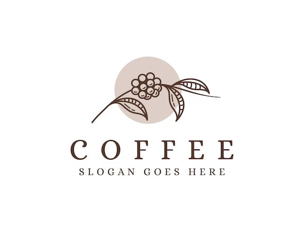 ラインアートコーヒーブランチのロゴ、コーヒー豆のロゴ、コーヒー植物のロゴアイコンテンプレート