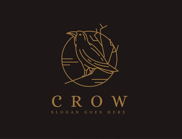 Lineart crow and the moon logo template