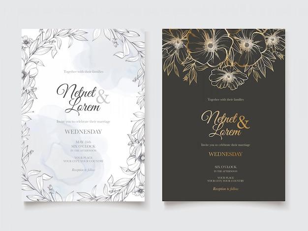 Lineart цветочные свадебные приглашения карты шаблон