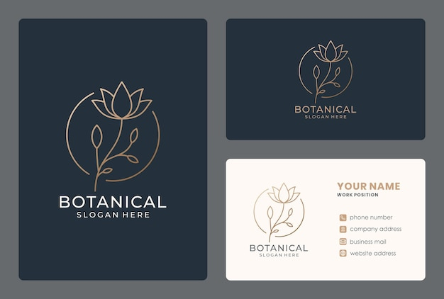 Lineart flower logo design with business card