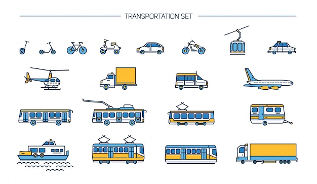 Lineart 아이콘 흰색 배경에 지상 교통, 항공 및 물 수송으로 설정합니다. 자전거, 버스, 트롤리, 지하철, 기차, 자동차, 비행기, 스쿠터, 케이블카, 트램, 비행기, 보트 컬렉션.
