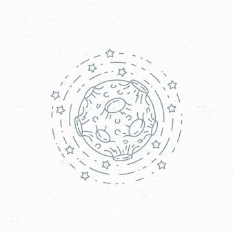 Линейный символ луны, этикетка космической темы, логотип.