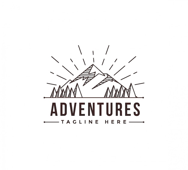 Lineart mountain adventure landscape logo template