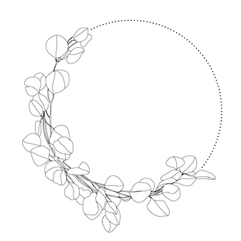 Lineart wreath with eucalyptus leaves and dots