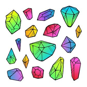 Lineart цвет неоновый градиент кристаллов наклейки изолированы. наброски знак комплект из драгоценных камней. набор иконок кристально тонкая линия. минеральная линейная коллекция иконок. бриллиант, изумруд, аквамарин.