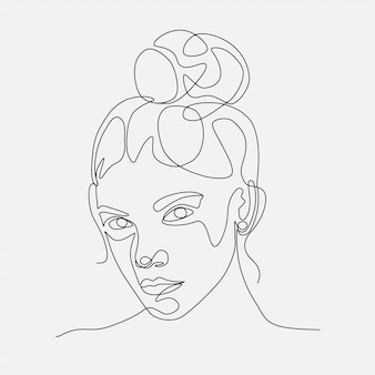 Женщина голова lineart иллюстрации. рисование одной линии