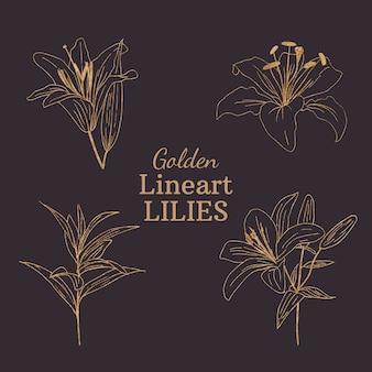Золотые лилии lineart