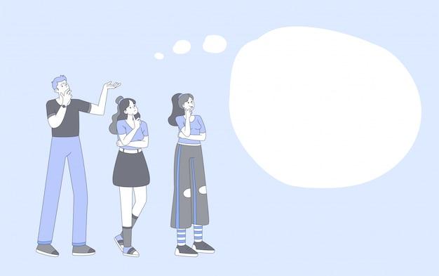 Люди, думающие, мозговой штурм наброски иллюстрации. молодой парень и стильные девушки lineart персонажей с пустой речи пузырь, изолированные на синем фоне. обсуждение групповой проблемы, поиск решения