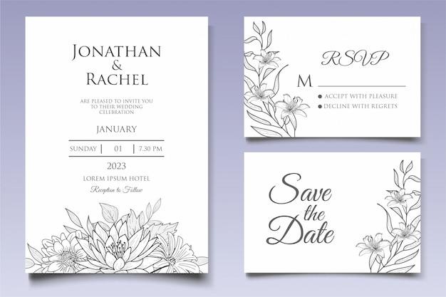 Красивые цветочные свадебные приглашения шаблон в стиле lineart
