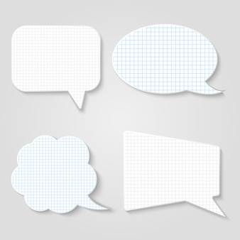 Lined blank retro speech bubbles  set
