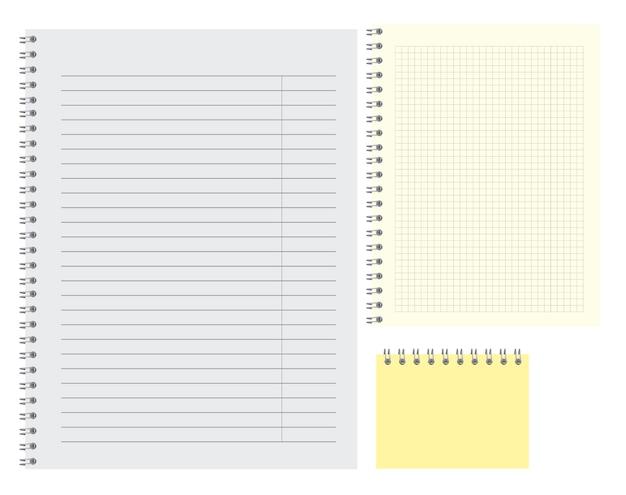 クリアノートの裏地付きシンプルな白紙メモパットテンプレートイラスト