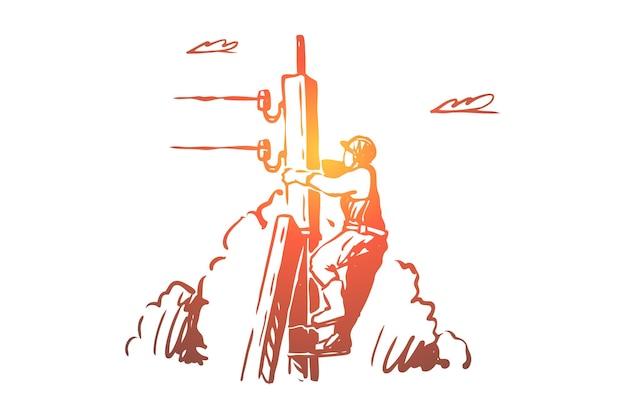 Lineman climbing up telephone post, high voltage line illustration
