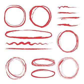 강조 표시 할 선과 원. 스케치 형광펜의 삽화 세트, 빨간색 마커 강조