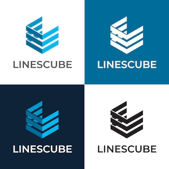 Lines cube hexagon vector logo template